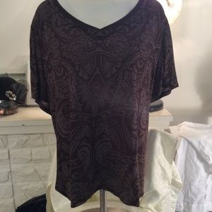 Just My Size Brown Grey abstract top 4X